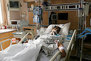 Steve Cannizzaro in the intensve-care unit  on the morning after his surgery.