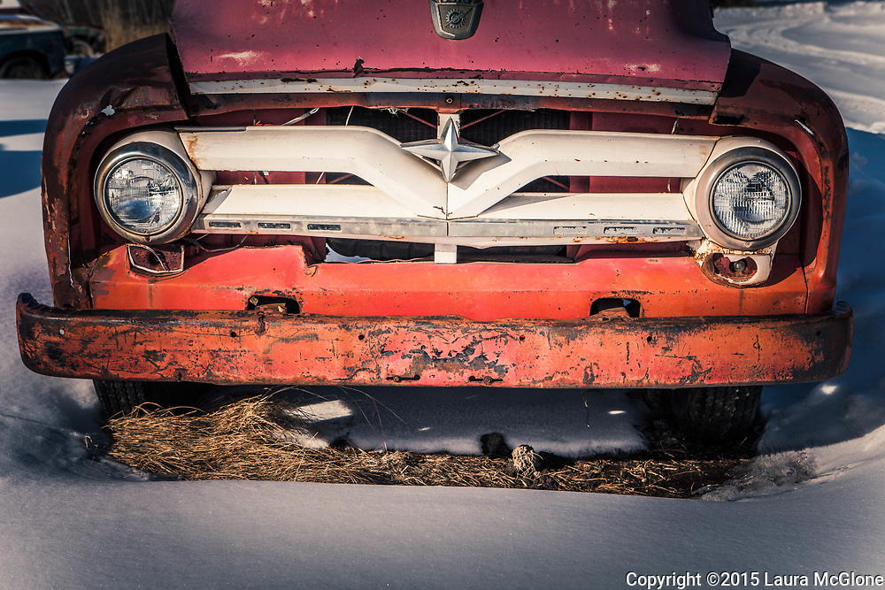 Alberta Canada, abandoned vintage Ford Truck, red
