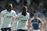Swansea City's Nathan Dyer (r) celebrates scoring the opening goal. Coca Cola Championship match, Cardiff City v Swansea City at Ninian Park, Cardiff on Sunday 5th April 2009. pic by Andrew Orchard, Andrew Orchard sports photography.