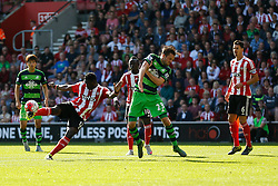 Southampton's Victor Wanyama volleys the ball towards goal - Mandatory by-line: Jason Brown/JMP - 07966 386802 - 26/09/2015 - FOOTBALL - Southampton, St Mary's Stadium - Southampton v Swansea City - Barclays Premier League