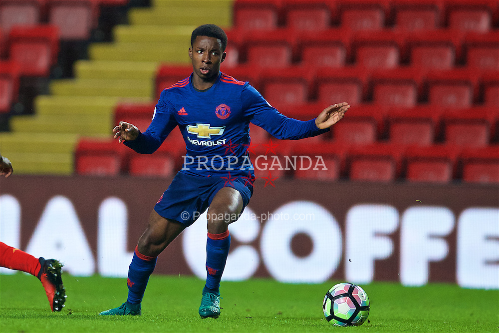 LIVERPOOL, ENGLAND - Monday, January 16, 2017: Manchester United's Tosin Kehinde in action against Liverpool during FA Premier League 2 Division 1 Under-23 match at Anfield. (Pic by David Rawcliffe/Propaganda)