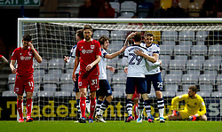 Tom Barkhuizen of Preston North End celebrates after scoring his sides first goal  - Mandatory by-line: Matt McNulty/JMP - 04/04/2017 - FOOTBALL - Deepdale - Preston, England - Preston North End v Bristol City - Sky Bet Championship