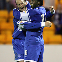 St Johnstone v Dundee United..CIS Cup...19.09.06<br />Jason Scotland celebrates his goal with a clearly delighted Paul Sheerin whose pass set up Scotland's goal<br />Picture by Graeme Hart.<br />Copyright Perthshire Picture Agency<br />Tel: 01738 623350  Mobile: 07990 594431