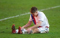 LIVERPOOL, ENGLAND - Saturday, January 8, 2011: Crystal Palace's Daniel Pringle looks dejected after conceding an extra-time penalty against Liverpool during the FA Youth Cup 4th Round match at Anfield. (Pic by: David Rawcliffe/Propaganda)