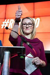 © Licensed to London News Pictures. 17/01/2020. Manchester, UK. REBECCA LONG-BAILEY (r) gives a thumbs up at the end of a speech and Q&A . Salford & Eccles MP Rebecca Long-Bailey launches her campaign to succeed Jeremy Corbyn in the race for Labour Party leadership , at an event in the Museum of Science and Industry in Manchester City Centre . Photo credit: Joel Goodman/LNP