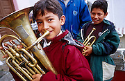 16 JANUARY 2002, GUANAJUATO, GUANAJUATO, MEXICO: Boy in a brass band with his fluegel horn in the city of Gunajuato, state of Guanajuato, Mexico, Jan. 16, 2002. .PHOTO BY JACK KURTZ