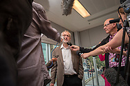 Jeremy Corbyn, Labour MP for Islington North, London, addressing a rally of supporters for his successful bid to be leader of the Labour Party.<br /> Photo, shows him addressing supporters in Tudor Square and the Crucible Theatre in Sheffield, Yorkshire, UK.