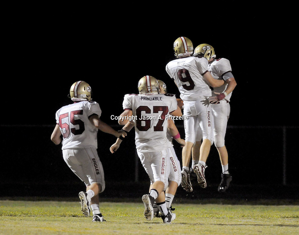 Ashley celebrates a touchdown against Topsail. (Jason A. Frizzelle)