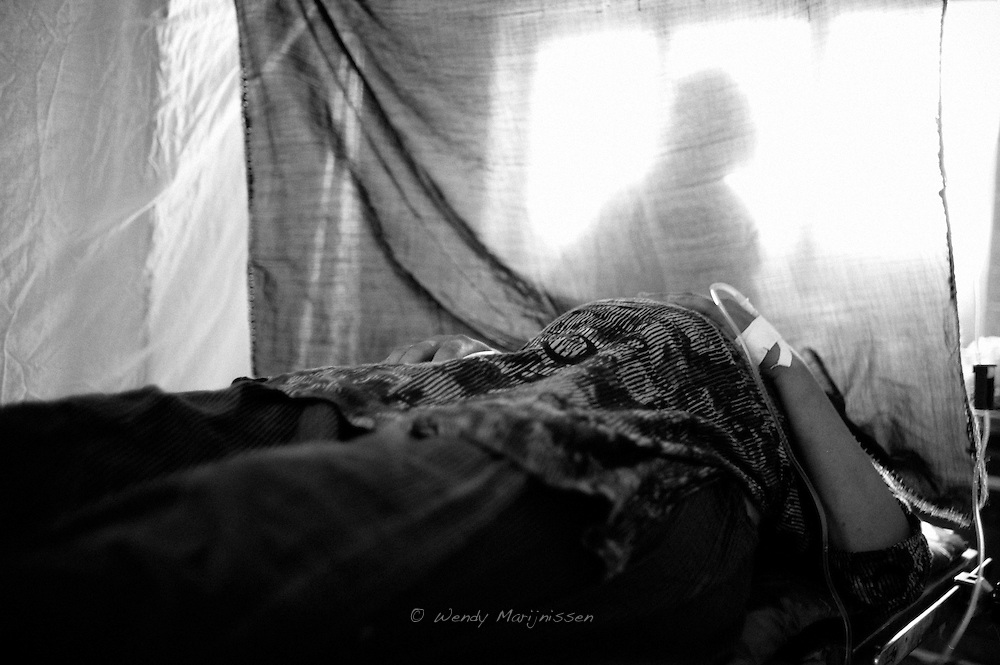 Rabia waiting to have her c-section done by the visiting doctors and surgeons from Karachi. Thari Mirwah, Pakistan, 2010