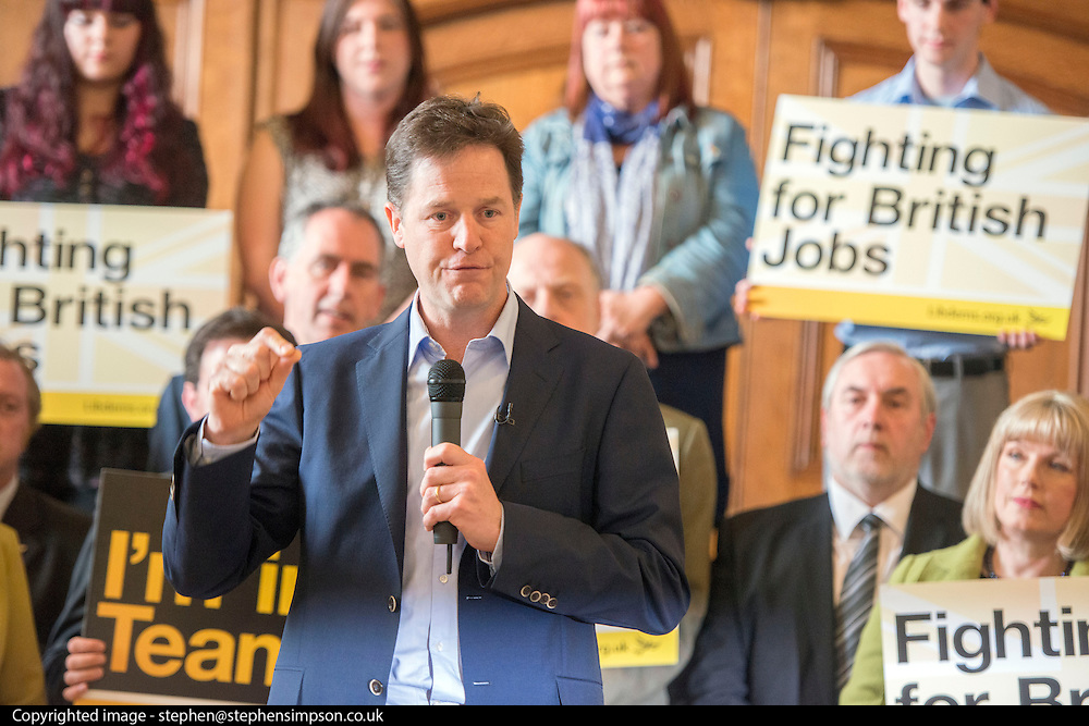 © Licensed to London News Pictures. 24/04/2014. Colchester, UK Deputy Prime Minister Nick Clegg launches the Liberal Democrat 2014 European Election Campaign and manifesto on Thursday 24 April in Colchester Town Hall. Photo credit : Stephen Simpson/LNP