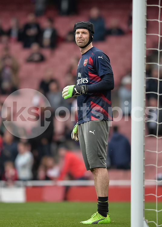 Petr Čech of Arsenal warms up during the The FA Cup sixth round match between Arsenal and Lincoln City at the Emirates Stadium, London, England on 11 March 2017. Photo by Vince Mignott.