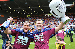 SKY BET PICTURES - FREE TO USE  Burnley Players, Michael Duff and Sam Vokes celebrate after they Win the Sky Bet Championship - Mandatory by-line: Paul Terry/JMP - 07/05/2016 - FOOTBALL - The Valley - London, England - Charlton Athletic v Burnley - Sky Bet Championship