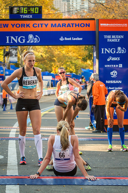 NYRR Dash to the Finish Line 5K road race: elite women recover after crossing finish line