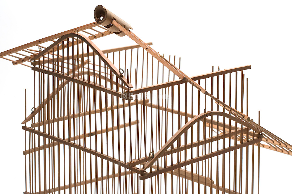 a birdcage with a collapsed roof