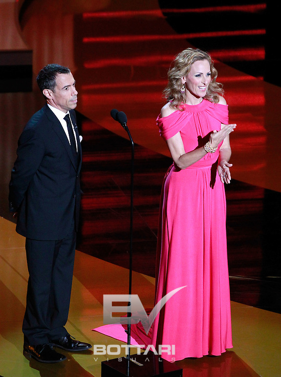 From left, Jack Jason and actress Marlee Matlin onstage during the Daytime Emmy Awards on Sunday June 19, 2011 in Las Vegas. (AP Photo/Jeff Bottari)