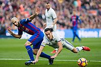 FC Barcelona's Javier Mascherano Real Madrid's Lucas Vazquez during spanish La Liga match between Futbol Club Barcelona and Real Madrid  at Camp Nou Stadium in Barcelona , Spain. Decembe r03, 2016. (ALTERPHOTOS/Rodrigo Jimenez)