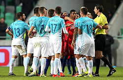 The England and Slovenia players argue between themselves - Mandatory by-line: Robbie Stephenson/JMP - 11/10/2016 - FOOTBALL - RSC Stozice - Ljubljana, England - Slovenia v England - World Cup European Qualifier