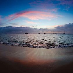 Sunset from Kaanapali Beach, Maui, Hawaii, US