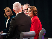 "14 JANUARY 2020 - DES MOINES, IOWA: US Senator AMY KLOBUCHAR talks to CNN anchors and analysts in the ""spin room"" after the CNN Democratic Presidential Debate on the campus of Drake University in Des Moines. This is the last debate before the Iowa Caucuses on Feb. 3.    PHOTO BY JACK KURTZ"