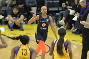 Connecticut Sun guard Jasmine Thomas (5) dribbles up court and signals to teammates during a WNBA basketball game against Los Angeles Sparks on Friday, May 31, 2019, in Los Angeles.The Sparks defeated the Sun 77-70.  (Dylan Stewart/Image of Sport)