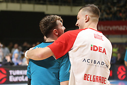 Alen Omic of Crvena Zvezda and Luka Doncic of Real Madrid during basketball match between Crvena Zvezda mts Belgrade and Real Madrid in Round #29 of Euroleague 2017/18, on March 30, 2018 in Hala Pionir, Belgrade, Serbia. Photo by Marko Metlas / Sportida