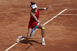 April 21, 2018 - La Manga, Murcia, Spain - Garbine Muguruza of Spain in action in his match against Montserrat Gonzalez of Paraguay during day one of the Fedcup World Group II Play-offs match between Spain and Paraguay at Centro de Tenis La Manga Club on April 21, 2018 in La Manga, Spain  (Credit Image: © David Aliaga/NurPhoto via ZUMA Press)