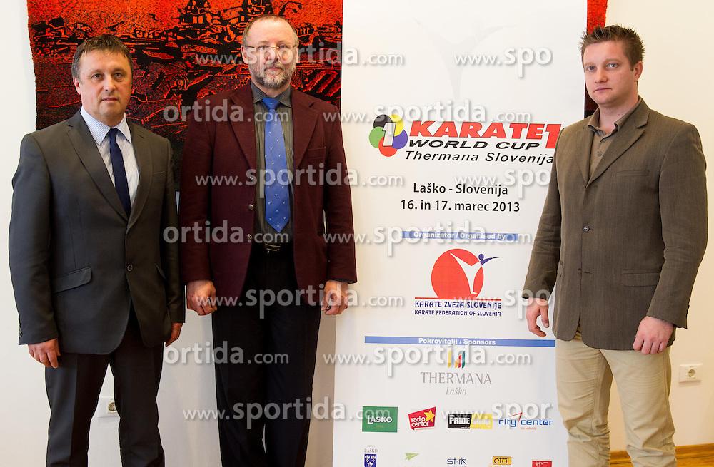 Tomaz Debersek, dr. Igor Zelinka and Borut Strojin during press conference of Organizing committee of Karate 1 World Cup Thermana Slovenia 2013 on February 13, 2013 in Ljubljana, Slovenia. (Photo By Vid Ponikvar / Sportida)