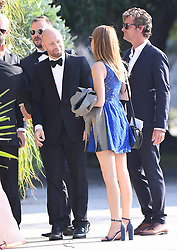 EXCLUSIVE: Aksel Heine and pregnant girlfriend Karoline Hegbom attend the wedding of 'Vikings' star Andre Eriksen's wedding in Hollywood, Calif. on Saturday. The wedding and reception was held at the Smog Shop, an old classic automobile repair shop recently turned into a chic wedding hall. 30 Sep 2017 Pictured: Aksel Heine, Karoline Hegbom, and Andre Eriksen. Photo credit: GAC/MEGA TheMegaAgency.com +1 888 505 6342