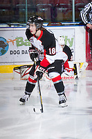 KELOWNA, CANADA - DECEMBER 8: Jake Mykitiuk #18 of the Prince George Cougars skates on the ice during warm up at the Kelowna Rockets on December 8, 2012 at Prospera Place in Kelowna, British Columbia, Canada (Photo by Marissa Baecker/Shoot the Breeze) *** Local Caption ***