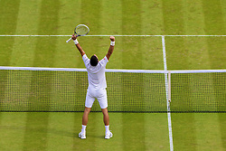 02.07.2014, All England Lawn Tennis Club, London, ENG, ATP Tour, Wimbledon, im Bild Novak Djokovic (SRB) celebrates after winning the Gentlemen's Singles Quarter-Final match on day nine // during the Wimbledon Championships at the All England Lawn Tennis Club in London, Great Britain on 2014/07/02. EXPA Pictures © 2014, PhotoCredit: EXPA/ Propagandaphoto/ David Rawcliffe<br /> <br /> *****ATTENTION - OUT of ENG, GBR*****