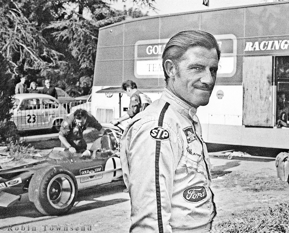 British Lotus driver, Graham Hill, in the pits before the training session during the 1969 Spanish Grand Prix at the Montjuïc urban circuit in Barcelona, Spain.