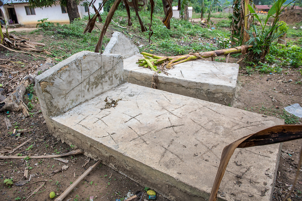 Two grave stones sit covered in dust and plants in Ganta, Liberia