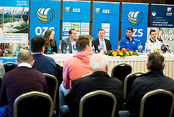 Metod Ropret, president of OZS, Aleksandar Boricic, president of CEV, Andrea Giani, coach of Slovenian team and Alenk Pajenk, athlete during press conference of Slovenian Volleyball Federation before FIVB Volleyball World League tournament in Ljubljana, on May 5, 2016 in Hotel Spik, Gozd Martuljek, Slovenia. Photo by Vid Ponikvar / Sportida