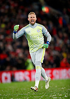 Football - 2018 / 2019 Premier League - Liverpool vs. Leicester City<br /> <br /> Kasper Schmeichel of Leicester City celebrates at Anfield.<br /> <br /> COLORSPORT/LYNNE CAMERON
