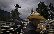 Cowboys wait for competition to begin during the 98th Falkland Rodeo in Falkland, BC. (2016)