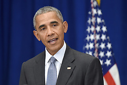 U.S. President Barack Obama holds a press conference about the recent bombing in the New York region at the Lotte New York Palace Hotel in New York City, NY, USA, on September 19, 2016. On the evening of September 17, 2016, a bomb placed in a dumpster exploded in lower Manhattan injuring at least 29 people. Photo by Anthony Behar/Pool/Sipa USA/ABACAPRESS.COM