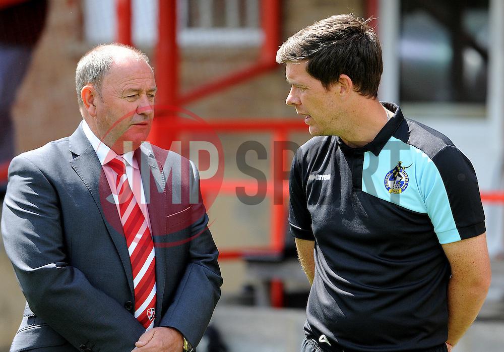 Cheltenham Town manager, Gary Johnson and Bristol Rovers manager, Darrell Clarke  - Mandatory by-line: Neil Brookman/JMP - 25/07/2015 - SPORT - FOOTBALL - Cheltenham Town,England - Whaddon Road - Cheltenham Town v Bristol Rovers - Pre-Season Friendly