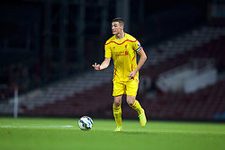 UPTON PARK, ENGLAND - Friday, September 12, 2014: Liverpool's captain Lloyd Jones in action against West Ham United during the Under 21 FA Premier League match at Upton Park. (Pic by David Rawcliffe/Propaganda)