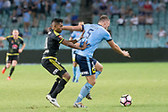 February 8, 2017: Sydney FC defender Jordy BUJIS (5) tries to get around Wellington Phoenix Roy KRISHNA (21) at Round 19 of the 2017 Hyundai A-League match, between Sydney FC and Wellington Phoenix played at Allianz Stadium in Sydney. Sydney FC won the game 3-1.