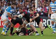 Gloucester, Great Britain, Georgia's, Vasil LABZHANIDZE, passing the ball, during the Pool C. game.  Argentina vs Georgia, 2015 Rugby World Cup, Venue. Kingsholm Stadium. England, Friday - 25/09/2015 <br /> [Mandatory Credit; Peter Spurrier/Intersport-images]