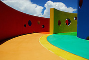 The colorful Peek-A-Boo wall at the Dell Children's Medical Center of Central Texas in Austin is part of the hospital's healing garden. Designed by landscape architects, TBG Partners, the healing garden opened in early 2008.