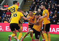 Football - 2018 / 2019 Premier League - Crystal Palace vs. Wolverhampton Wanderers  g <br /> <br /> Matt Doherty of Wolves celebrates scoring his goal with team mates, at Selhurst Park.<br /> <br /> COLORSPORT/ANDREW COWIE