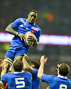 Twickenham, GREAT BRITAIN, Yannick NYANGA, collects the line out ball, during the 2013, 6 Nations Rugby match, England vs France. Played at the RFU Stadium Twickenham, Surrey on, Saturday  23/02/2013  [Photo, Peter Spurrier/Intersport-images]