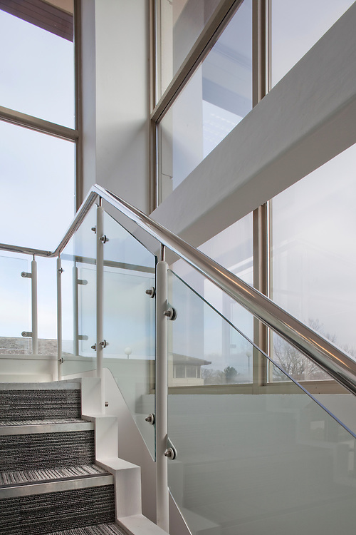 office staircase with windows