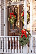 Christmas wreath decorates a historic home in Savannah, GA.