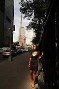 Rose Parascandola is seen at the by the World Trade Center site where she was photographed 10 years ago on 9/11/2001, at the intersection of Fulton and Church Streets in Manhattan, NY, on August 13, 2011. Parascandola was working for a company on the 51st floor of Tower One on 9/11/2001 when she was seen running from the burning towers after the terrorist attacks. 8/13/2011Photo by Jennifer S. Altman, Freelance