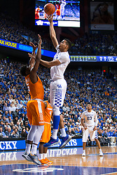 Kentucky forward Skal Labissiere shoots overTennessee forward Admiral Schofield in the second half. .<br /> <br /> The University of Kentucky hosted the University of Tennessee, Thursday, Feb. 18, 2016 at Rupp Arena in Lexington .