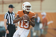 AUSTIN, TX - SEPTEMBER 26:  Jerrod Heard #13 of the Texas Longhorns drops back to pass against the Oklahoma State Cowboys during the 4th quarter on September 26, 2015 at Darrell K Royal-Texas Memorial Stadium in Austin, Texas.  (Photo by Cooper Neill/Getty Images) *** Local Caption *** Jerrod Heard