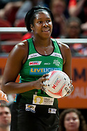 SYDNEY, AUSTRALIA - AUGUST 24: Jhaniele Fowler of the West Coast Fever smiles during the round 14 Super Netball match between the Giants and the West Coast Fever at Qudos Bank Arena on August 24, 2019 in Sydney, Australia.(Photo by Speed Media/Icon Sportswire)