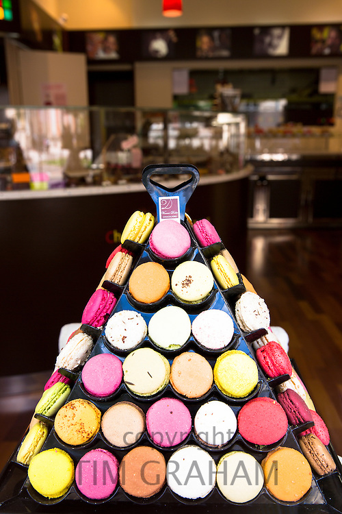 Display of macarons at Chocolatier Vincent Dallet in Cours de Jean-Baptiste Langlet in Reims, Champagne-Ardenne, France